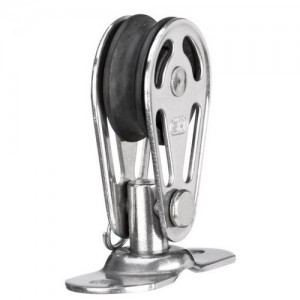 Sliding bearing block 6mm - 1 sheave, base plate with bolt