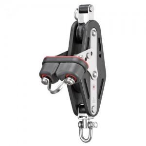 Mainsheet block sliding bearing 12mm - 2 sheaves, swivel, becket, cam cleat