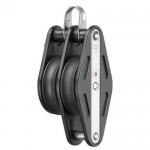 Ball bearing block 12mm - 2 sheaves, swivel, becket